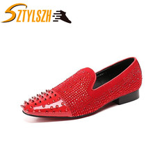 Men's Genuine Leather Loafers Fashion Casual Shoes Men Rhinestone Driving Shoes Man Flats Dress Rivets Wedding Shoes Moccasins