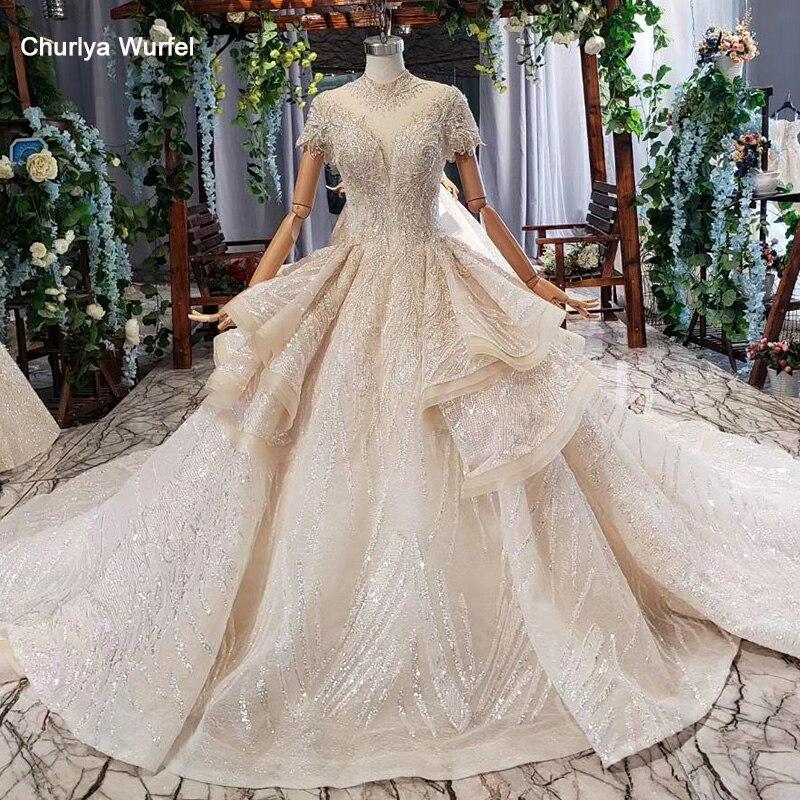 HTL695 Elegant Wedding Dresses In Dubai High Neck Short Sleeves Corset African Wedding Gown Ruffle Style Robe De Mariage 2019