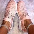 Neue frauen Damen Ankle Schuhe Flache Frauen Sneaker Müßiggänger Kristall Bling Turnschuhe Casual Damen Slip Auf Atmungsaktiv Casual Schuhe-in Vulkanisierte Damenschuhe aus Schuhe bei