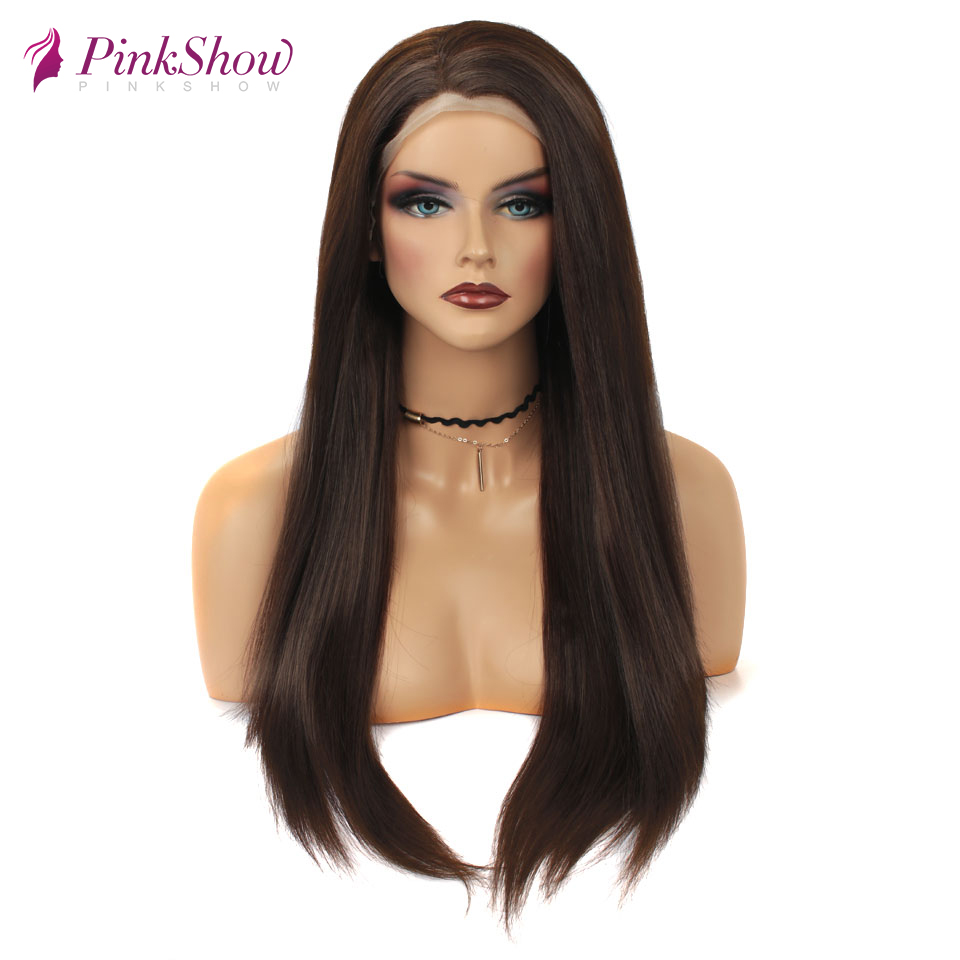 Pinkshow Brown Wig Straight Hair Synthetic Lace Front Wig For Women Heat Resistant Fiber Daily Wigs 24 inches