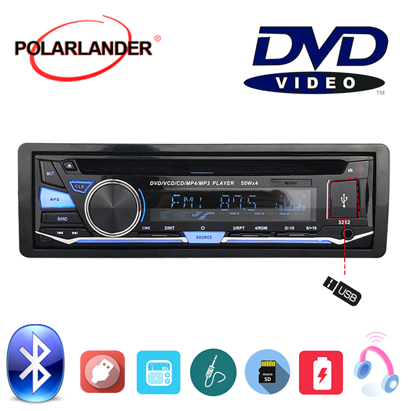 BT Bluetooth FM AUX IN USB SD card CD DVD MP3 player Audio Music With Remote Control 1 DIN Removable panel Car Radio Stereo image