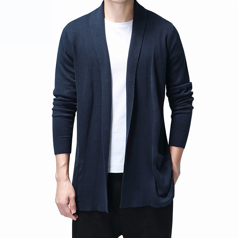 Solid Cardigan Men Casual Knitted Cotton Sweater Men Clothes Long Style Mens Sweaters and Cardigans Coat Pull Homme 2020 Sweater