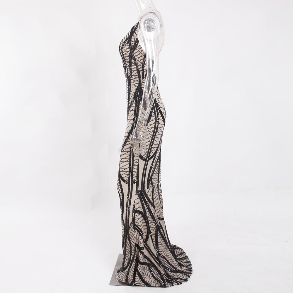 Sleeveless Deep V Neck Black Sequined Dress Backless Stretchy Long Mermaid Dress 13