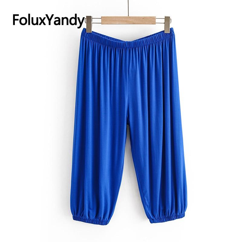 Calf-length Summer Pants Women Capris Solid Trousers Plus Size Casual Harem Pants Blue Black Gray KKFY4621