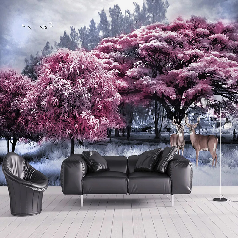 Custom Photo Mural Pink Forest Big Tree Elk Nature Landscape 3D Wall Painting Waterproof Canvas Wallpaper Living Room Restaurant