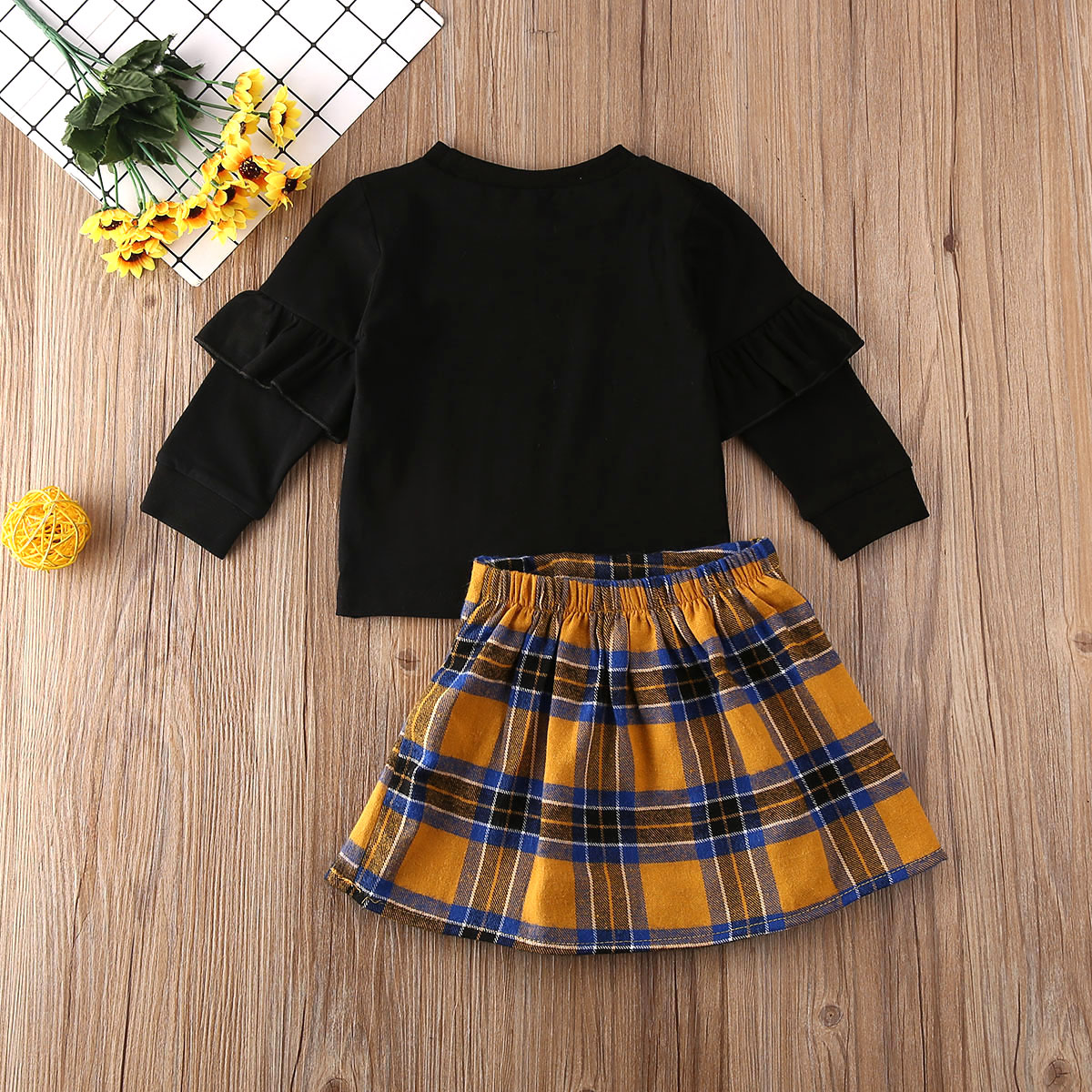 2pcs Toddler Baby Girl Korean Long Sleeve Tops+Skirt Outfits Set Clothes Newest