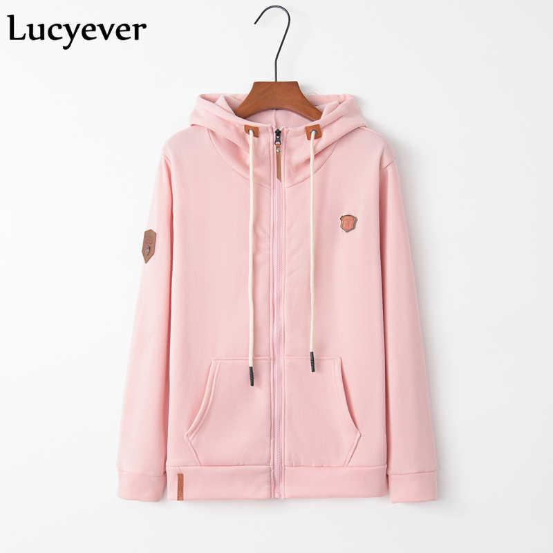 Lucyever Harajuku Wanita Hoodie Fashion Musim Gugur Musim Dingin Lengan Panjang Berwarna Merah Muda Perempuan Ritsleting Sweatshirt Ukuran Plus Gadis Mantel S-5XL