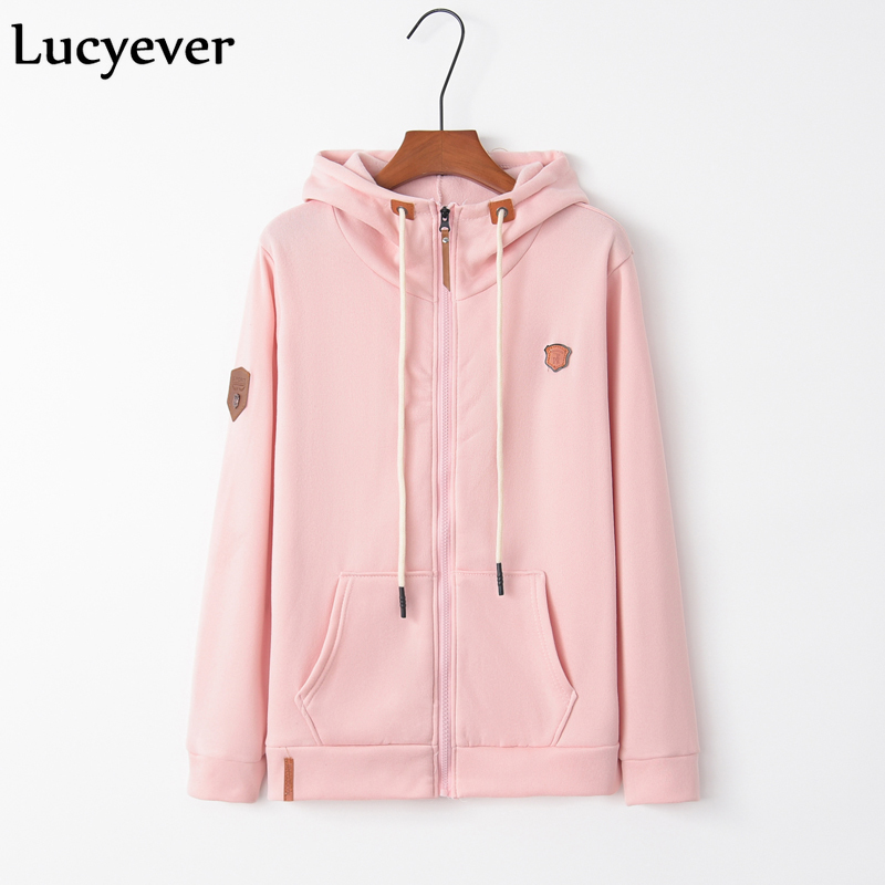Lucyever Harajuku Women Hoodies Fashion Autumn Winter Long Sleeve Pink Female Zipper Sweatshirt Plus Size Cotton Girl Coat S-5XL