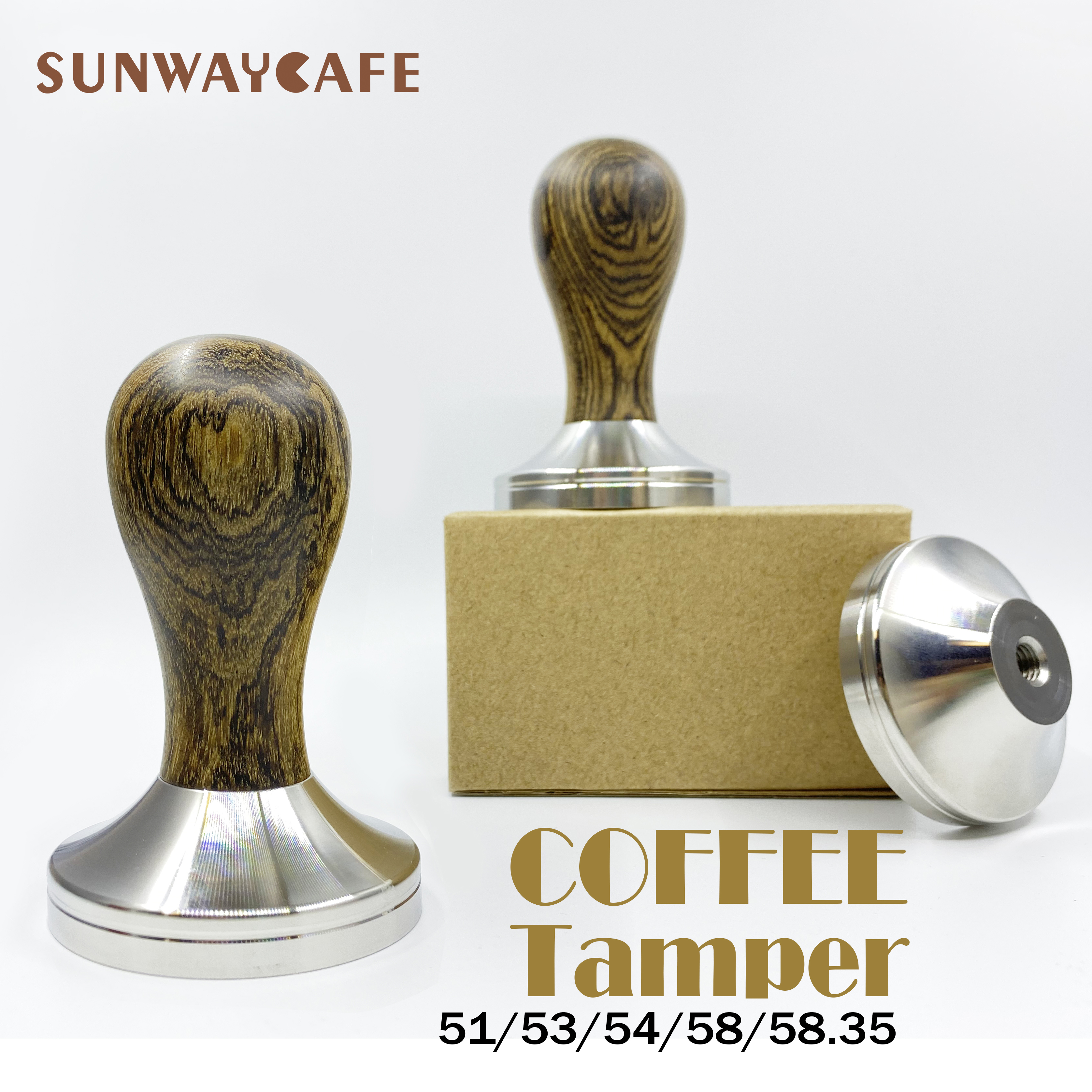51/53/54/58/58.35mm Coffee Tamper Golden Sandalwood Handle 304Stainless Steel Coffee Powder Hammer Espresso Cafe Tools Barista