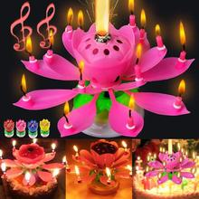 Romantic Musical Candle Lotus Flower Candle Happy Birthday Art Candle Lights For DIY Cake Decoration Kids Gift Wedding Party