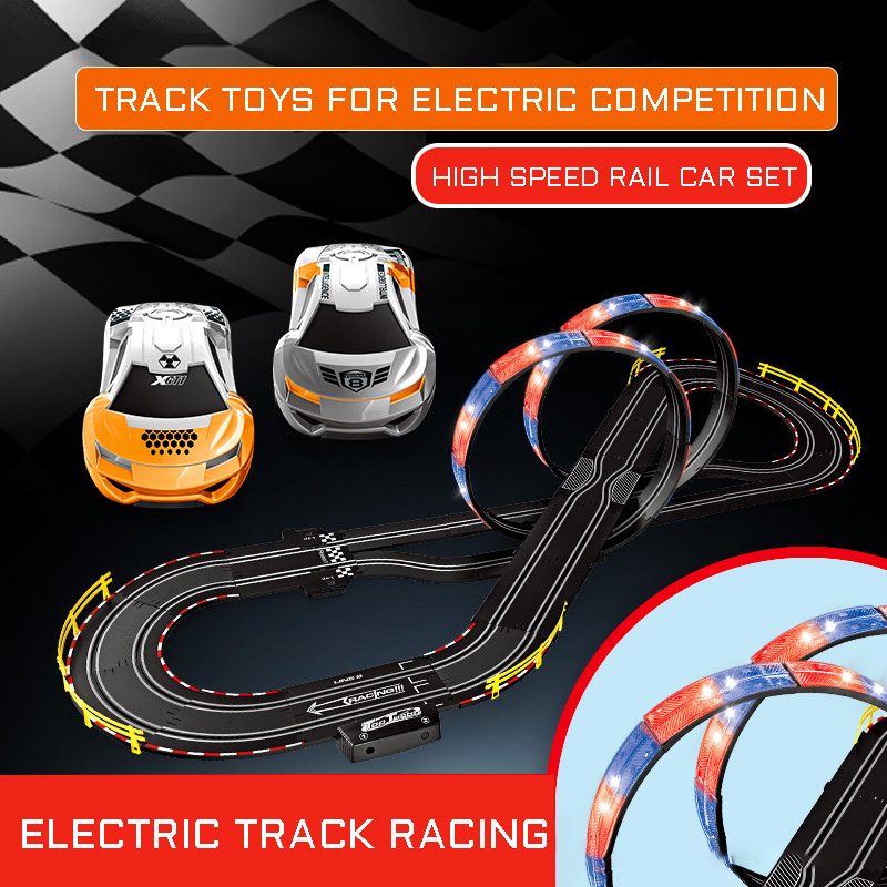 Electric Race Two Person Remote Control Track Racing Kids Hand Shake <font><b>Electronic</b></font> Control High Speed Rail <font><b>Car</b></font> Set <font><b>Toys</b></font> With Lights image