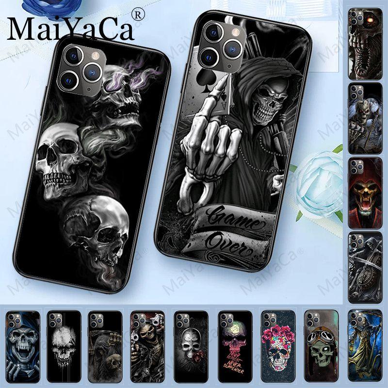 MaiYaCa Grim Reaper Skull Skeleton Luxury Hybrid phone case for iPhone 6S 6plus 7 7plus 8 8Plus X XS MAX XR 5 5S 11pro max case