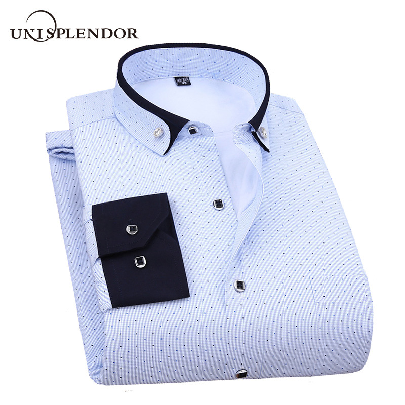 Unisplendor Winter Thicking Men Shirt Dot Striped Casual Men's Shirt Thick Warm Plus Velvet Man Male Shirt Homme Shirt YN10566