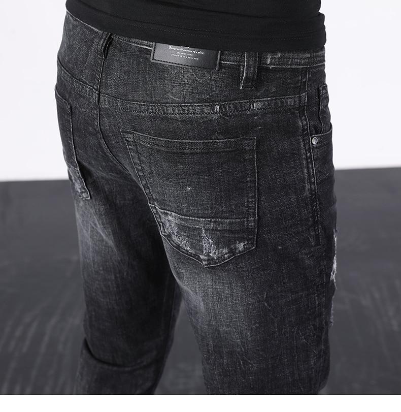 KSTUN Ripped Jeans Men Black Stretch Slim Fit Distressed Streetwear Hip Hop Casual Denim Pants Ankle Length Trousers 2020 Summer 18