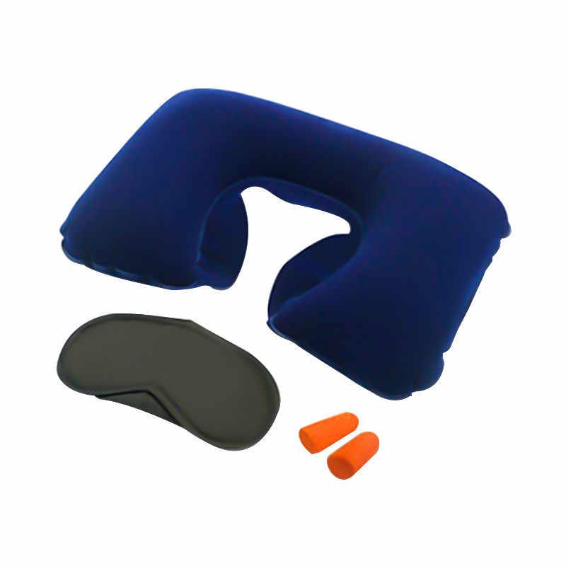 מושב מכונית כרית רכב אביזרי פנים כיסוי עיניים Earplug צוואר שאר מתנפח כרית U בצורת אוויר כרית