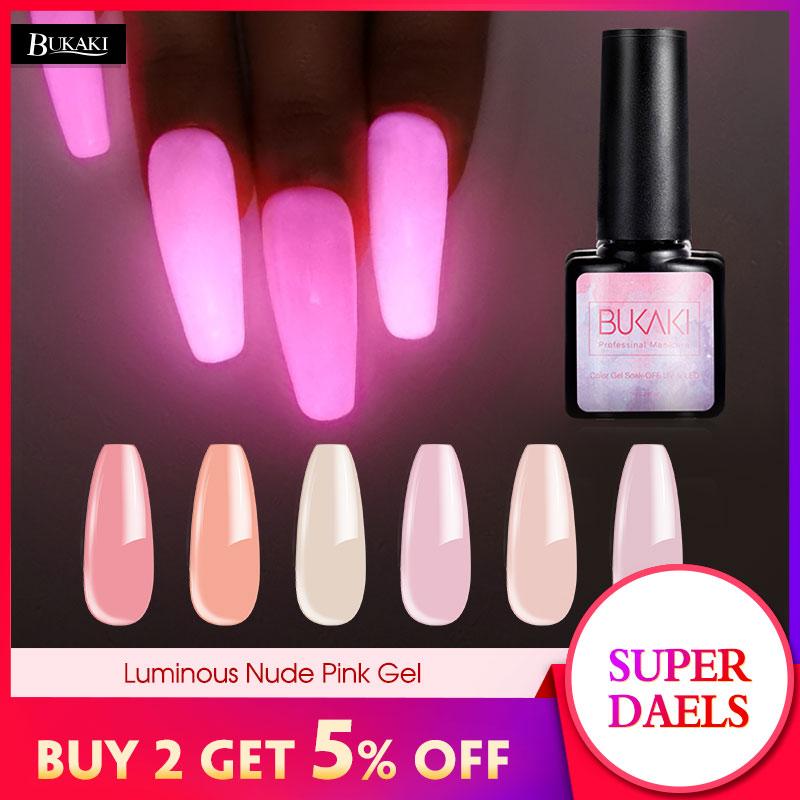 BUKAKI Luminous Neon Nude Pink Nail Gel Polish Sugar Glitter Long Lasting Night Glow In Dark Lacquer Soak Off UV Nails Design