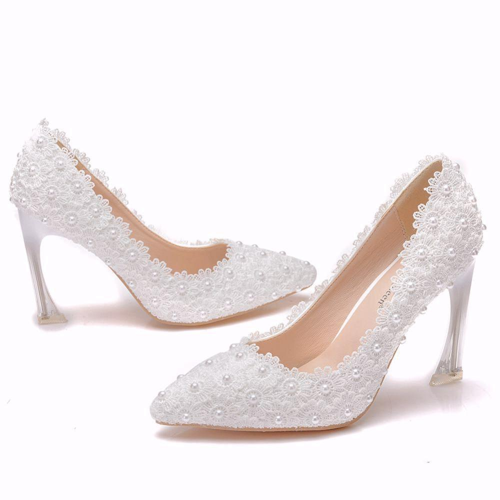 Crystal Queen White Lace High Heels Wedding Shoes Bride Party Shoes Women Pumps Ladies High Heels Bridal Shoes
