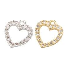 ZHUKOU 12x13 мм Латунное Хрустальное сердечко любовь подвески кулон для женщин ожерелье серьги ювелирные изделия изготовление аксессуаров Модель: VD561