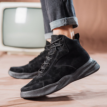 New Mens Ankle Boots 2019 Autumn Fashion Lace Up Mens Boots Winter Male Work Shoes Snow Boots For Men Botas Size 39-44 mens riding ankle boots canvas fashion autumn winter shoes two wear talent black gray khaki casual lace up male leisure boots