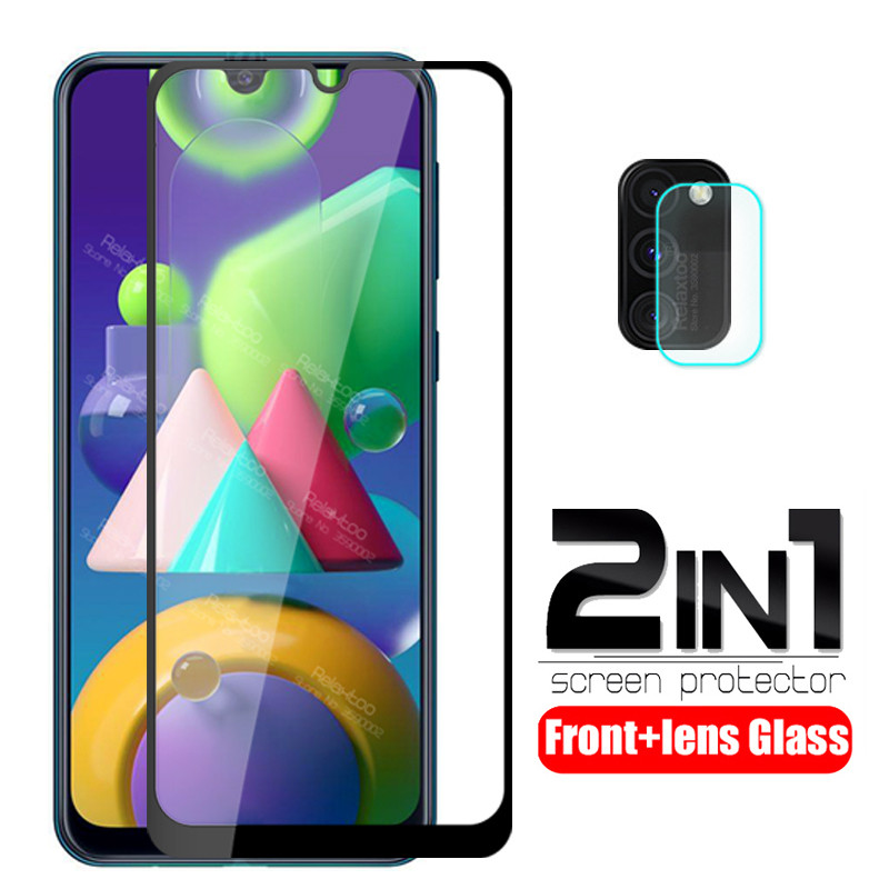 "For Samsung M21 Glass 2 In 1 Camera Lens Tempered Glass For Samsung Galaxy M21 2020 6.4"" M215F Screen Protector Protective Film"