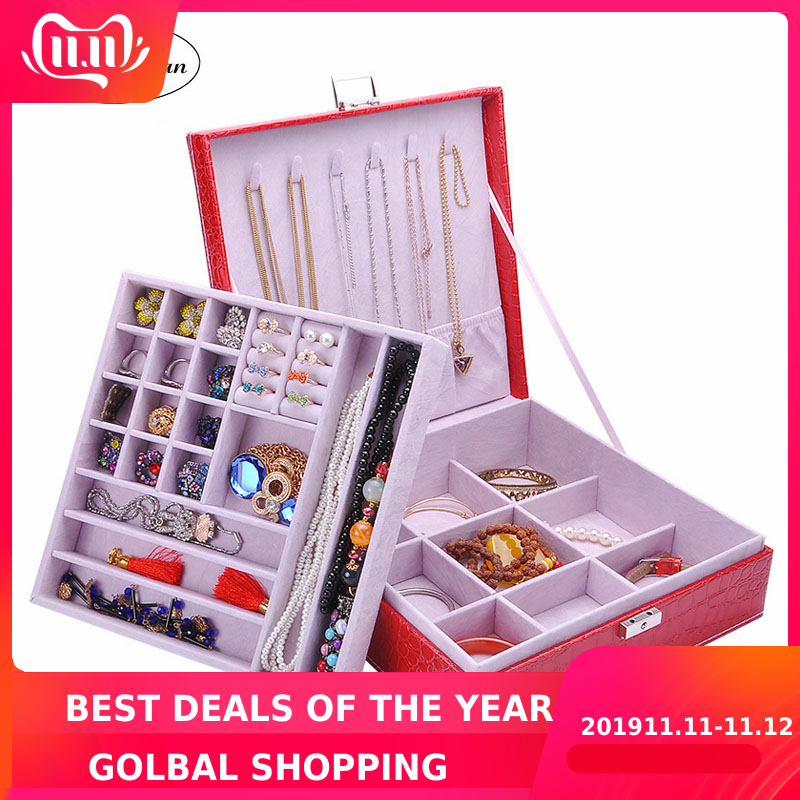 2 Layers Large Leather Square Jewelry Box With Mirror High Quality Jewelry Cases Storage Box For Girls