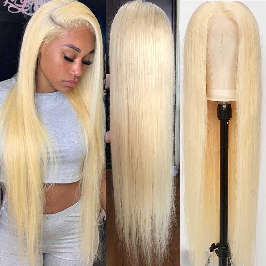 613 koronkowa peruka na przód 13x6 prosto koronki przodu włosów ludzkich peruk malezyjski Remy HD przejrzyste zamknięcie koronki peruka blond Frontal peruka