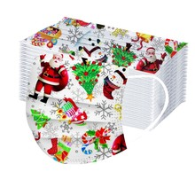 20 100Pc Gezichtsmasker Kinderen Wegwerp Gezicht Cover Kerst Halloween Print Ouder kind Mond Gezicht Cover stofdicht Mascarilla