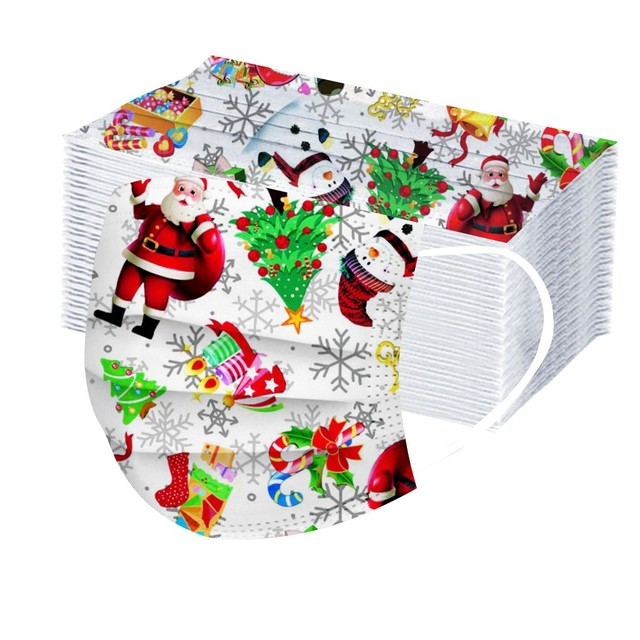 20 100pc Face Mask Childrens Disposable Face Cover Christmas Halloween Print Parent child Mouth Face Cover Dustproof Mascarilla