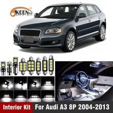 14 pces can-bus livre de erros w5w t10 led kit de luz interior para audi a3 8p 2004-2013 pacote substituir lâmpadas branco carro-estilo