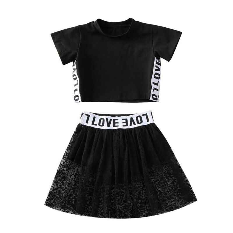 Pudcoco Toddler Girl Clothes Kid Baby Short Sleeve Letter Printed Tops T-shirt Lace Patchwork Skirt Summer Outfit Tracksuit
