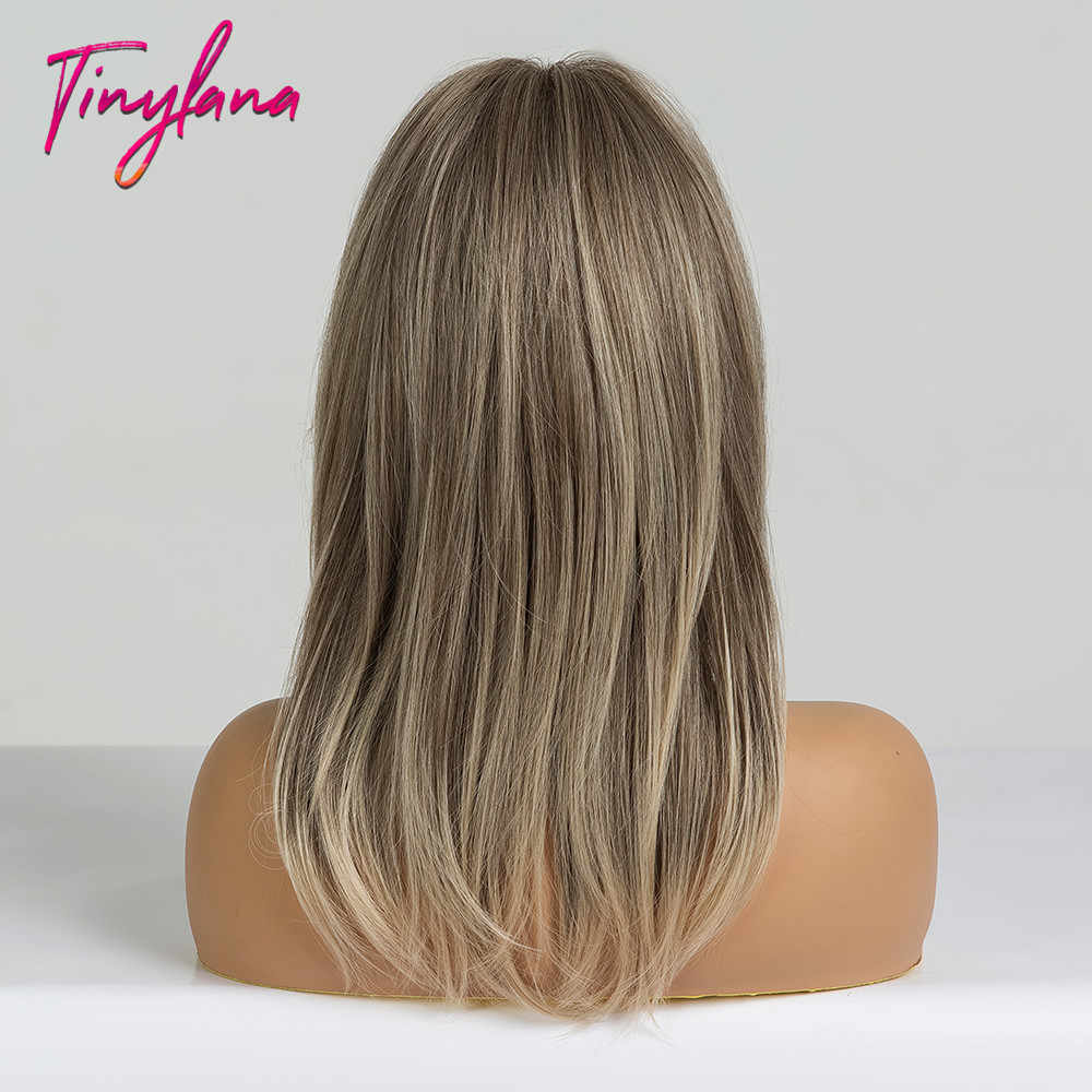 TINY LANA Mid-length Straight Synthetic Wigs Layered Hairstyle Ombre Brown Blonde Ash Gery with Bangs for Black Women Hot Sell