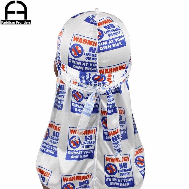 Durag-bonnet en soie pour hommes | Unisexe, risques de noyade, Bandanas soyeux imprimés, couvre-chef, chapeau Turban Wave