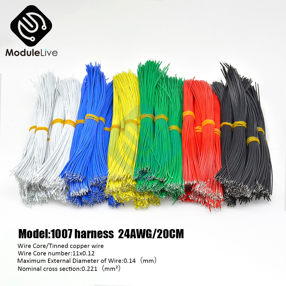 100PCS 20CM <font><b>UL1007</b></font> Wire 24AWG 1.4mm PVC Electronic Cable UL Certification Multifunction Tools 20 CM image