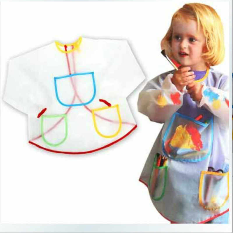 Children Transparent Waterproof DIY Painting Apron Clothing with Pockets Long Sleeve Easy Clean Anti-dirt Drawing Aprons Bibs
