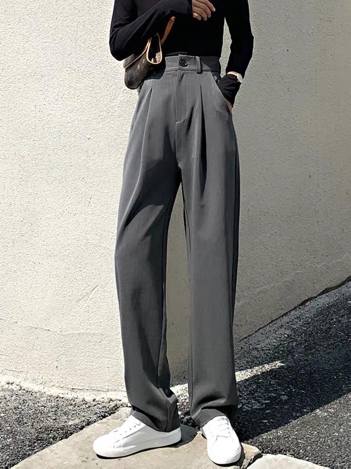 VRIGINER Trouser For Women High Waist Causal Loose Wide Leg Pants Female 2020 Spring Korean Fashion Elegant Tide