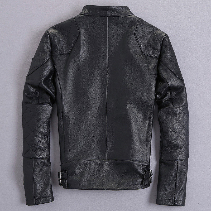 Real 2020 Leather Jacket Men Short Motorcycle Genuine Leather Autumn Coat Cowhide Leather Jackets Plus Size KJ2399 S