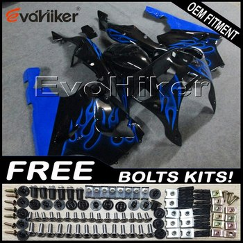 Custom fairing motorcycle bodywork kit for ZX7R 1996-2003 ABS motor panels blue flames+gifts