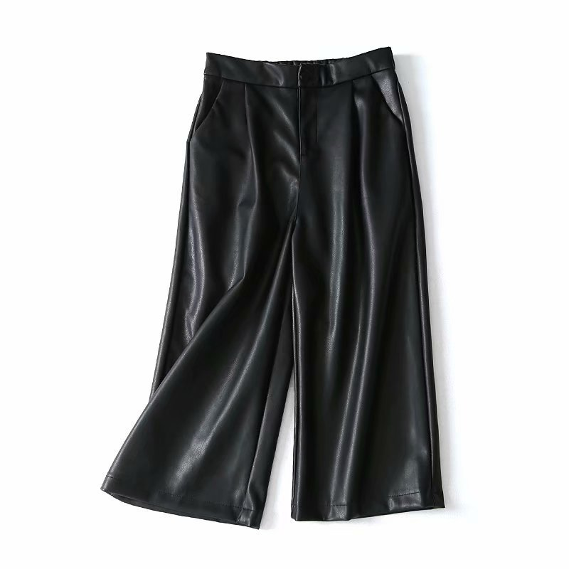 2018 Autumn New Style Korean-style Semi-Elastic High-waisted Faux Leather Loose Pants Capri Pants Women's