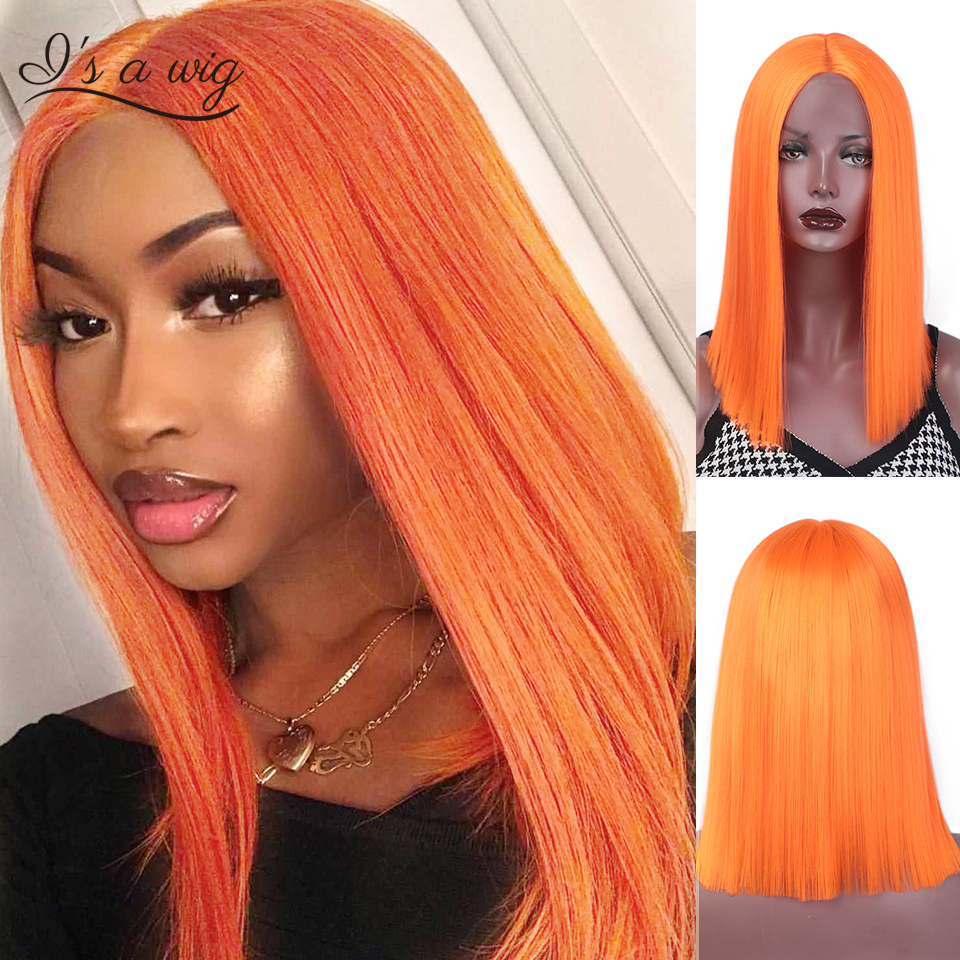 I's a Wig Short Straight Synthetic Lace Front Wigs Orange Pink Black Wig for Women Natural Cosplay Wigs Average Size