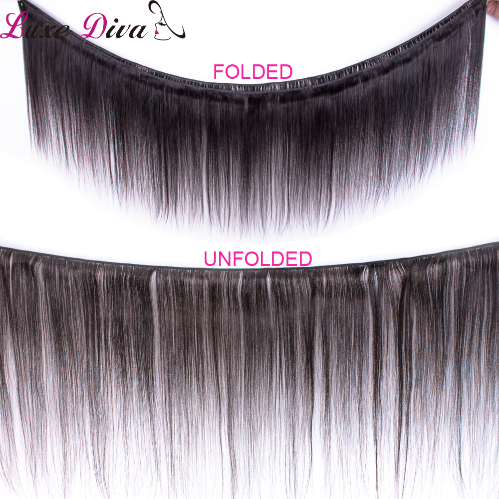 Image 2 - Luxediva Brazilian Straight Hair Bundles With Closure Human Hair Bundles With Lace Closure With Baby Hair Weave Bundles NoRemy-in 3/4 Bundles with Closure from Hair Extensions & Wigs
