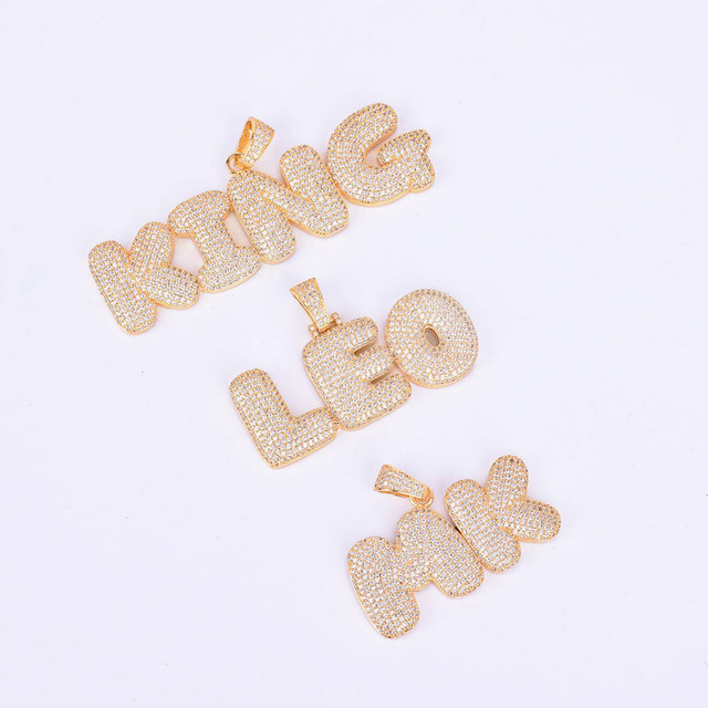 Custom Name Bubble Letters Chain Pendants Necklaces Men's Zircon Hip Hop Jewelry With 4MM Gold Silver Tennis Chain