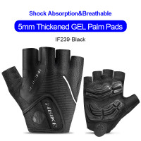 IF239-Black-INBIKE Summer Men Women Half Finger Shockproof Cycling Gloves