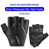 IF239-Black-INBIKE Summer Men Women Half Finger Shockproof Cycling Gloves