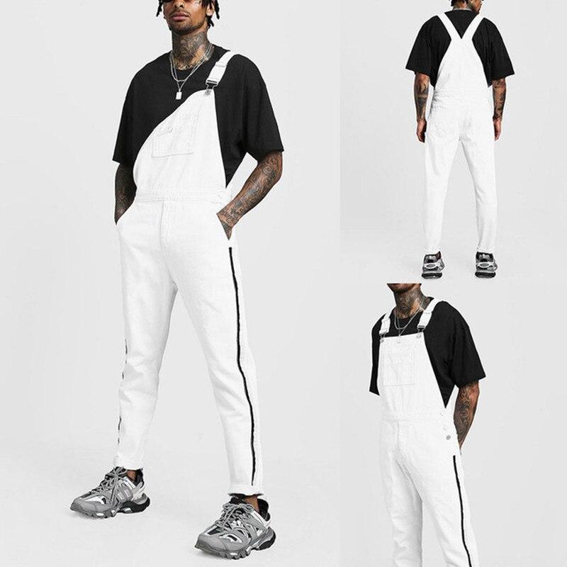 Rompers Suit Men Jeans Jumpsuit 2020 New Fashion Cotton Casual Male Denim White Jeans Pants Overalls Hip Hop Playsuits Plus Size
