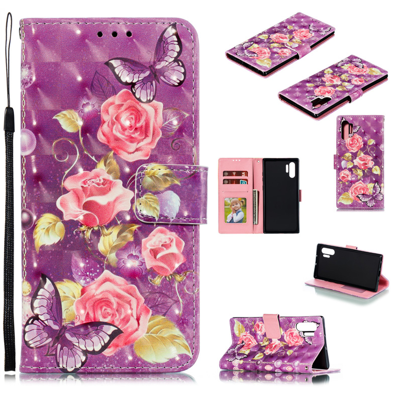 Note 10 Plus Leather Flip Case For Samsung Galaxy Note 10 3D Flower Wallet with Stand and Card Slots Note10+ Phone Cover