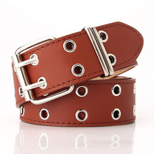 Waist-Belt Chain Pin-Buckle Double-Hole Fashion High-Quality Luxury Women PU for Jeans