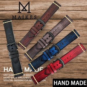 Image 1 - MAIKES Handmade Cow Leather Watch Strap 7 Colors Available Vintage Watch Band 20mm 22mm 24mm For Panerai Citizen Casio SEIKO