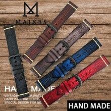 MAIKES ręcznie robiony pasek ze skóry bydlęcej 7 kolorów dostępny zegarek w starym stylu pasek 20mm 22mm 24mm dla Panerai Citizen Casio SEIKO
