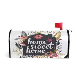 Home Sweet Welcome Magnetic Mailbox Post Box Cover Wraps Flower And Leaves Waterproof Mail Box Covers
