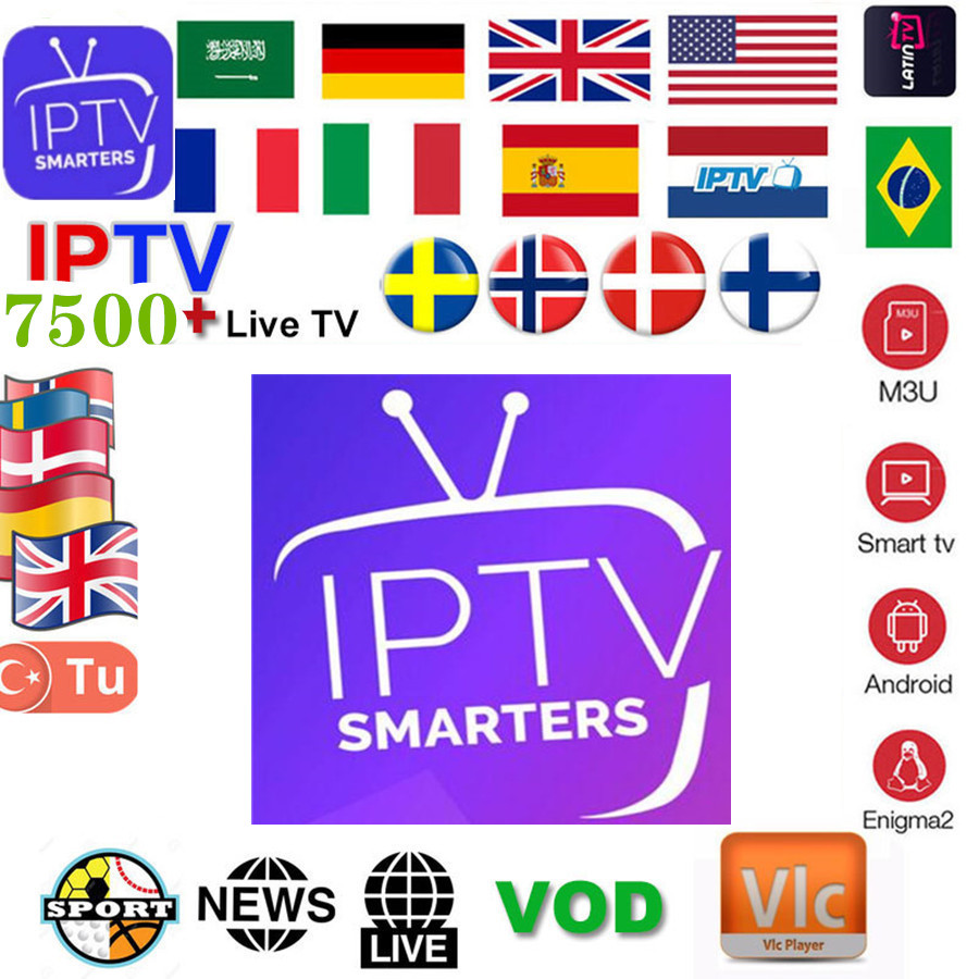 1 Year 7000+Live Europe IPTV French Dutch Spain Italy UK IPTV Subscription Arabic Iptv Free Sports Android Tv Box Ssmart Tv Pc